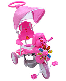 Fab N Funky Puppy Face Musical Tricycle with Canopy N Push Handle - Pink