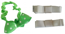 NeedyBee Set of Polka Dot Bow Hairband and Hair Clips - Green and White
