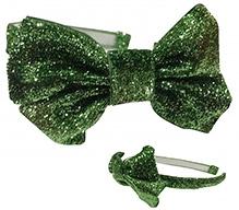NeedyBee Green Glitter Hairband With Big Bow on Side