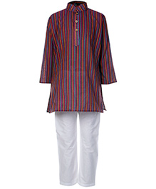 Babyhug Full Sleeves Kurta And Pajama Set Purple - Self Stripes Design