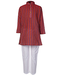 Babyhug Full Sleeves Kurta And Pajama Set Red - Self Stripes Design