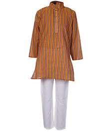 Babyhug Full Sleeves Kurta And Pajama Set Orange - Self Stripes Design