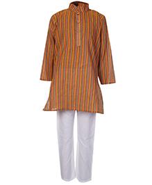 Babyhug Full Sleeves Kurta And Pajama Set Orange - Self Stripes Design