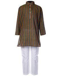 Babyhug Full Sleeves Kurta And Pajama Set Green - Self Stripes Design