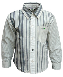 Gron Full Sleeves Stripes Pattern Shirt - Cream