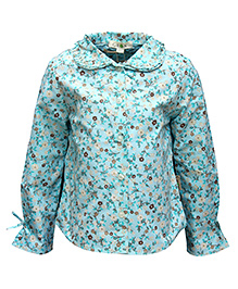 Gron Full Sleeves Shirt Blue - Flower Print