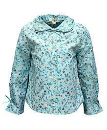 Gron Full Sleeves Shirt Blue - Flower Print