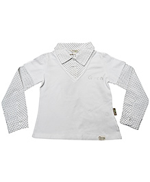 Gron White Doctor Sleeves Shirt - Collar Neck
