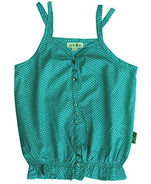 Gron Singlet Top Green With Smocked Panel