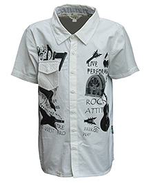Gron Half Sleeves Printed Shirt Off White - Front Pocket