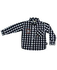 Gron Full Sleeves Shirt Checks Print - Black
