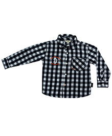 Gron Full Sleeves Shirt Checks Print - Black