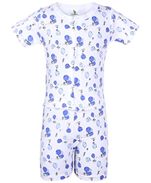 Cucumber Half Sleeves Night Suit White And Blue - Balloons Print