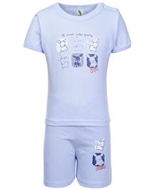 Cucumber Half Sleeves T Shirt And Shorts Blue - Sweet Rabbit Print