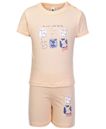 Cucumber Half Sleeves T Shirt And Shorts Orange - Sweet Rabbit Print