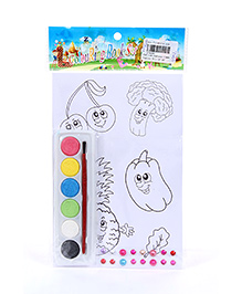 Fab N Funky Coloring Book Set with Multicolors Veggies Print