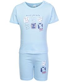 Cucumber Half Sleeves T Shirt And Shorts  Light Blue - Sweet Rabbit Print