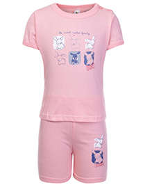 Cucumber Half Sleeves T Shirt And Shorts Pink - Sweet Rabbit Print