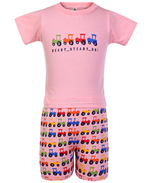Cucumber Half Sleeves T Shirt And Shorts Pink - Jeep Print
