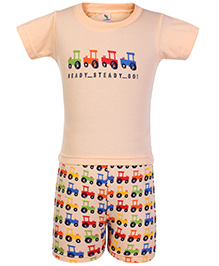 Cucumber Half Sleeves T Shirt And Shorts Orange - Jeep Print