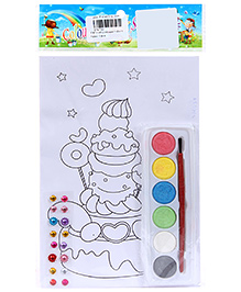 Fab N Funky Coloring Book Set with Multicolors - Birthday Cake Print