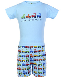Cucumber Half Sleeves T Shirt And Shorts Sky Blue - Jeep Print