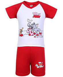 Cucumber Raglon Sleeves T Shirt And Shorts Red - Tom And Jerry Print