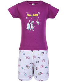 Cucumber Half Sleeves T Shirt And Shorts Purple - Tom And Jerry Print