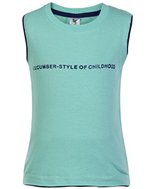 Cucumber Sleeveless T Shirt Green - Style Of Childhood Print