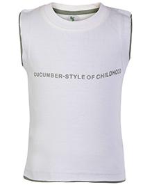 Cucumber Sleeveless T Shirt White - Style Of Childhood Print
