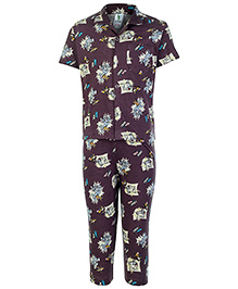 Cucumber Half Sleeves Night Suit Brown - Tom And Jerry Print