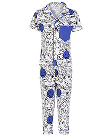 Cucumber Half Sleeves Night White And Blue - Smileys Print