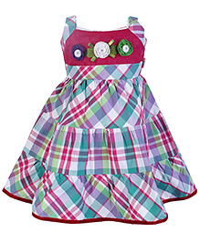FrocksSAPS Sleeveless Frock With Check Print and Flower Applique - Dark Pink