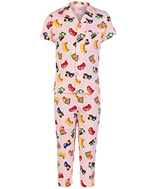 Cucumber Half Sleeves Night Suit Vehicles Print - Peach