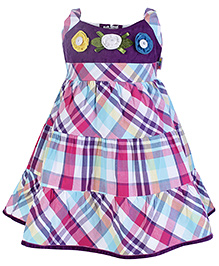 SAPS Sleeveless Frock With Check Print and Flower Applique - Dark Purple