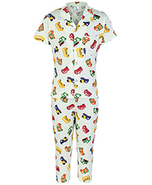 Cucumber Half Sleeves Night Suit Vehicles Print - Green