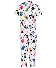 Cucumber Half Sleeves Night Suit Off White - Teddy Bear Print
