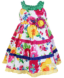 SAPS Sleeveless Floral Print Frock and Flower Applique