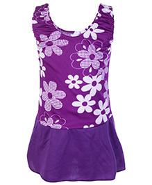 Bosky Sleeveless Frock Style Swimwear Flower Print - Purple