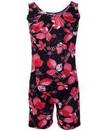 Bosky Sleeveless Jumpsuit Type Swimwear Leaf Print - Red