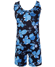 Bosky Sleeveless Jumpsuit Type Swimwear Leaf Print - Blue