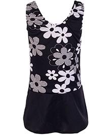 Bosky Sleeveless Frock Style Swimwear Flower Print - Black