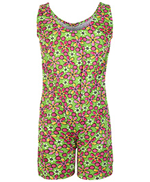 Bosky Sleeveless Jumpsuit Type Swimwear Flower Print - Green