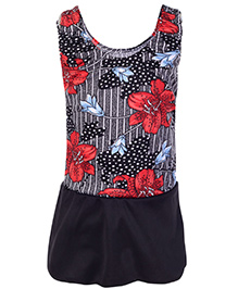 Bosky Sleeveless Frock Style Swimwear Flower Print