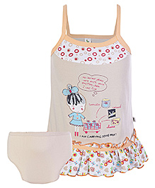 Cucumber Singlet Frock With Bloomer Doll Patch - Peach