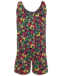 Bosky Sleeveless Jumpsuit Type Ring Print Swimwear - Black