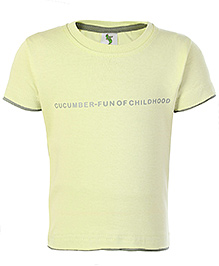 Cucumber Half Sleeves T Shirt Yellow - Fun Of Childhood Print