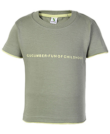 Cucumber Half Sleeves T Shirt Green - Fun Of Childhood Print