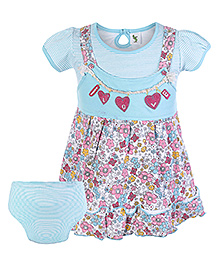 Cucumber Half Sleeves Dungaree Frock With Bloomer - Blue