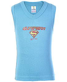 Cucumber Sleeveless Vest Sky Blue - Superman Print